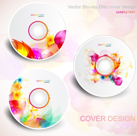 Vector CD cover design. Editable templates. Floral Design