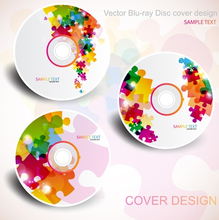 blu: Vector CD cover design. Editable templates. Puzzle Design Illustration