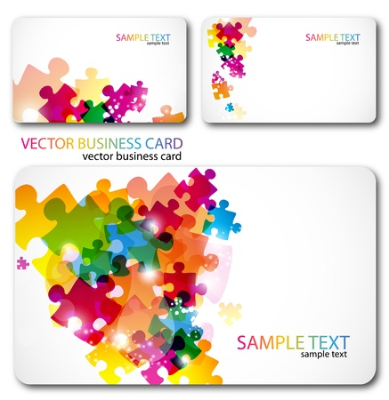 puzzle: Modern Business-Card Set. Designed in the same style Illustration