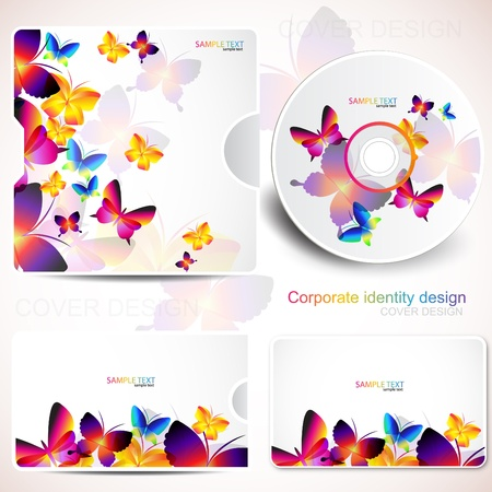 cd cover: Cover design template of disk and business card. Butterfly design Illustration