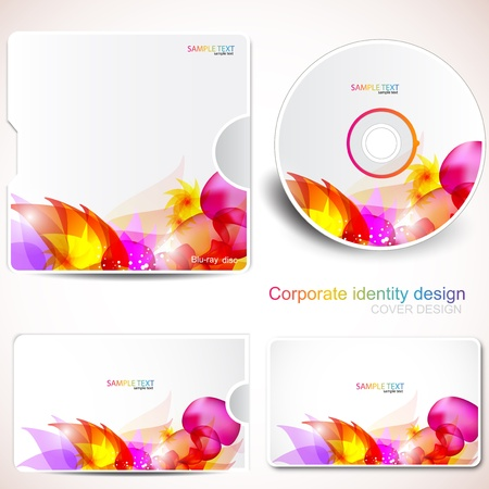 Cover design template of disk and business card. Floral Design Stock Vector - 9277154
