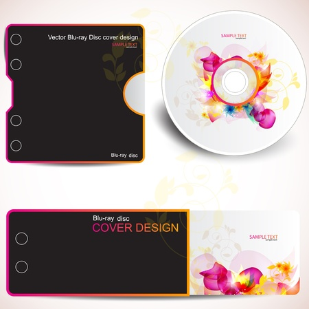 Cover design template of disk and business card. Floral Design Vector