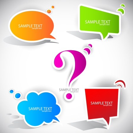 question mark background: Colorful paper bubble for speech Illustration
