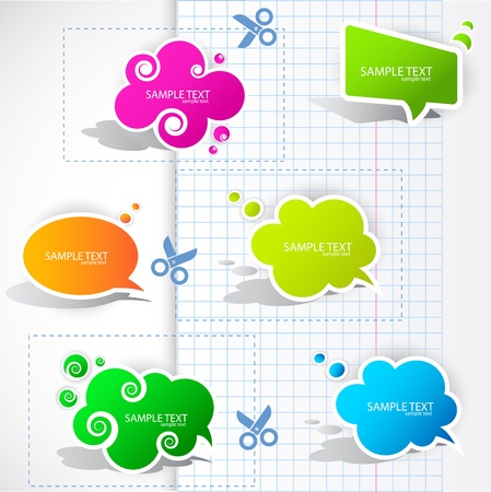 paper cutting: Colorful paper bubble for speech Illustration