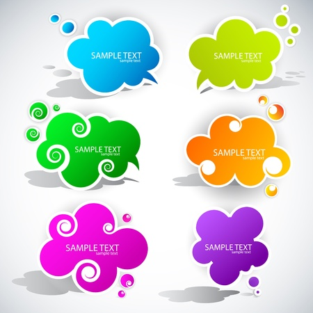 bright colors: Paper cloud bubble for speech