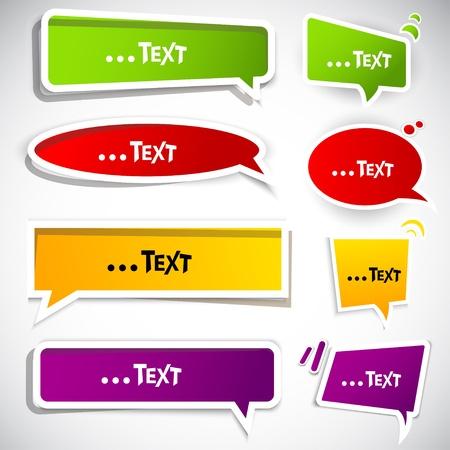 phrase: Colorful paper bubble for speech Illustration