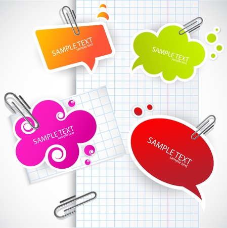 binders: Colorful paper bubble for speech Illustration