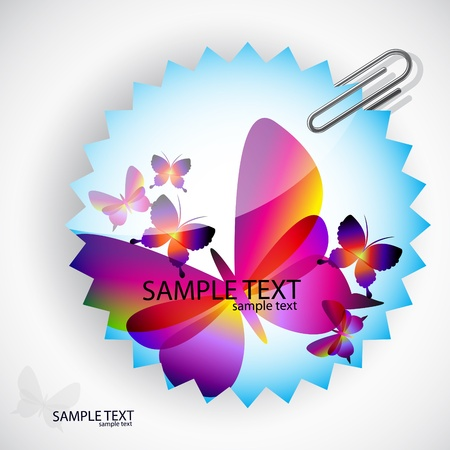 Round sticker with butterflies Stock Vector - 9498059