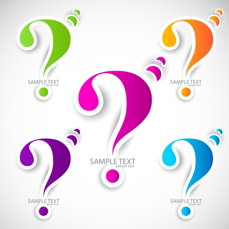 question: Colorful paper question mark for speech