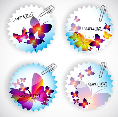 Round sticker with butterflies.  Vector