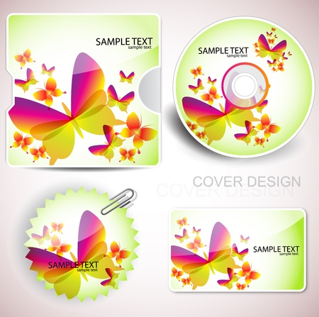 Cover design template of disk and business card. Butterfly design Vector