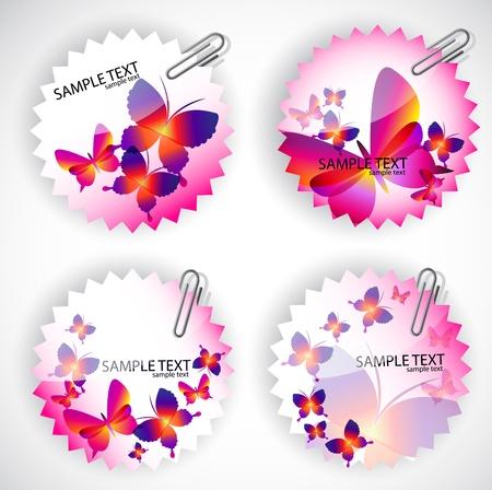 Round sticker with butterflies. Vector illustration set Vector