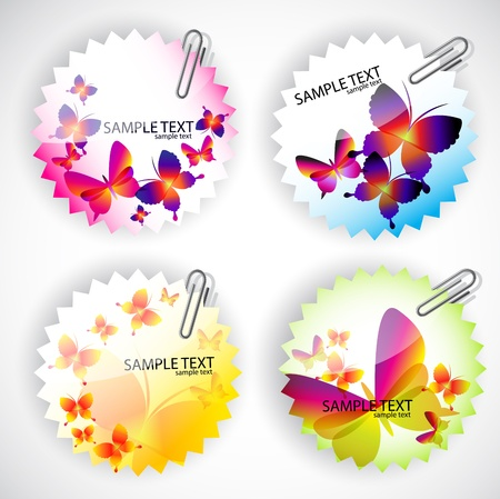 clasp: Round sticker with butterflies. Vector illustration set
