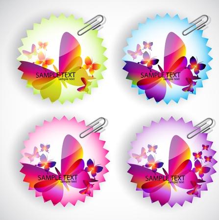 Round sticker with butterflies.  illustration set Vector