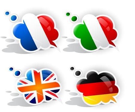 bandera italiana: Burbujas de discurso con banderas nacionales de símbolos Vectores