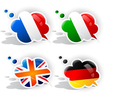 french text: Speech bubbles with symbols national flags