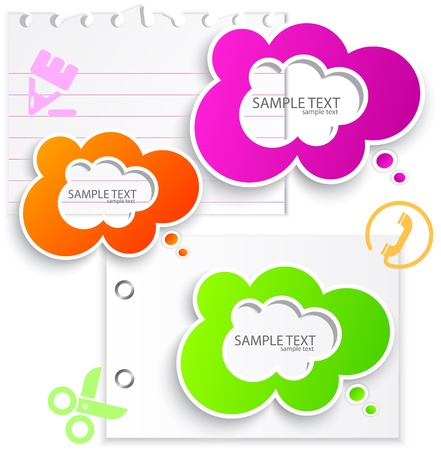 sticky notes: Colorful paper bubble for speech Illustration