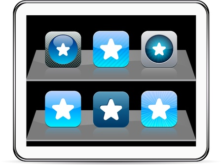 Star Set of apps icons. Vector illustration doesnt contain transparency and other effects. EPS8 Only.  Vector