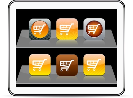 contain: Shopping cart Set of apps icons. Vector illustration doesnt contain transparency and other effects. EPS8 Only.   Illustration