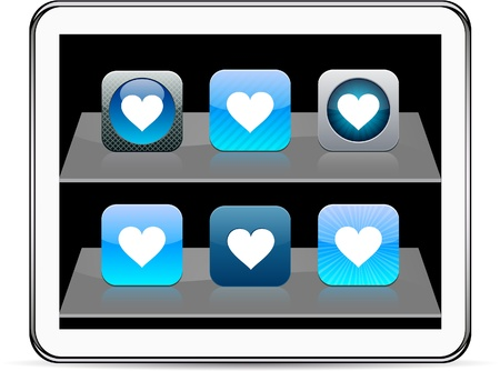 Heart Set of apps icons. Vector illustration doesnt contain transparency and other effects. EPS8 Only.  Vector