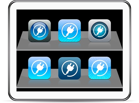 contain: Power plug Set of apps icons. Vector illustration doesnt contain transparency and other effects. EPS8 Only.  Illustration