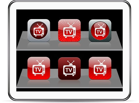 TV Set of apps icons. Vector illustration doesnt contain transparency and other effects. EPS8 Only.  Vector