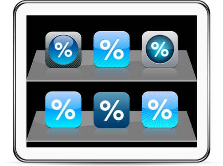Percent Set of apps icons. Vector illustration doesn't contain transparency and other effects. EPS8 Only. 