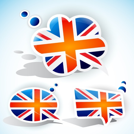 Flag of the United Kingdom. Speech bubble set Vector