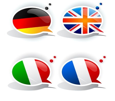 speak english: Speech bubbles with symbols national flags