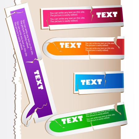bookmarks: Colorful paper bookmarks. Vector set