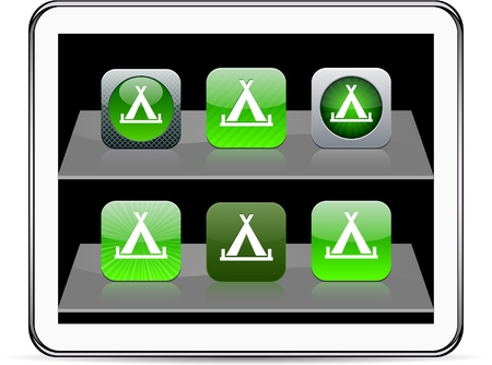 Tent Set of apps icons. Vector illustration doesnt contain transparency and other effects. EPS8 Only.   Vector
