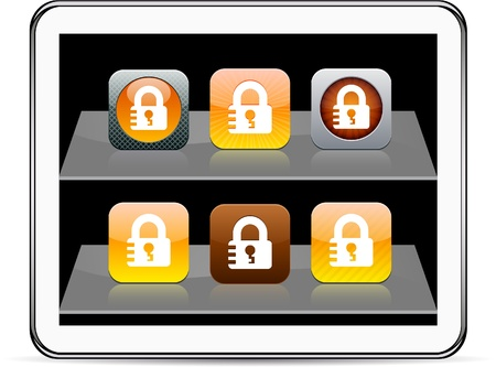 Lock Set of apps icons. Vector illustration doesn't contain transparency and other effects. EPS8 Only. Stock Vector - 9945351
