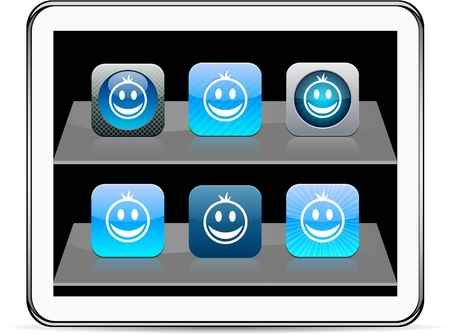 contain: Smiley Set of apps icons. Vector illustration doesnt contain transparency and other effects. EPS8 Only.
