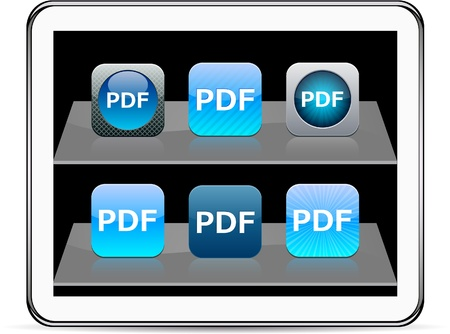 PDF Set of apps icons. Vector illustration doesnt contain transparency and other effects. EPS8 Only.   Vector