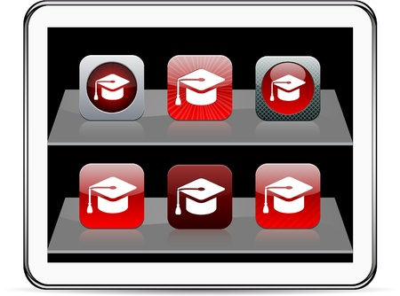 Graduation Set of apps icons. Vector illustration doesnt contain transparency and other effects. EPS8 Only.   Vector
