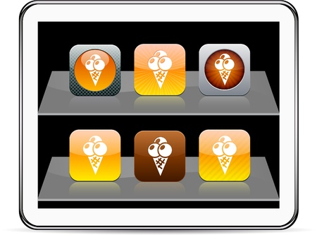 icecream Set of apps icons. Vector illustration doesnt contain transparency and other effects. EPS8 Only.   Vector