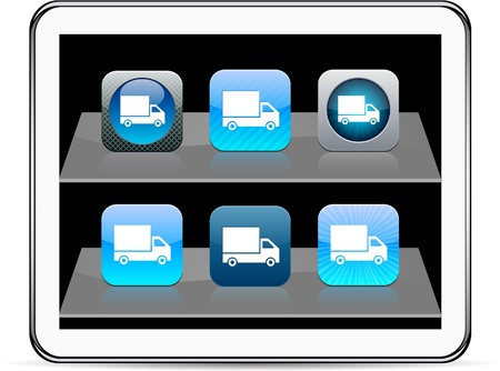 Delivery Set of apps icons. Vector illustration doesnt contain transparency and other effects. EPS8 Only.  Vector