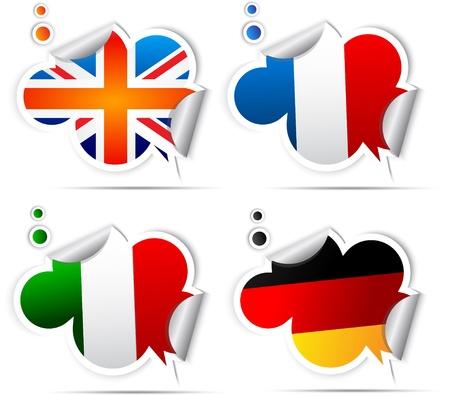 bandiera inglese: Adesivi con simboli bandiere nazionali Vettoriali