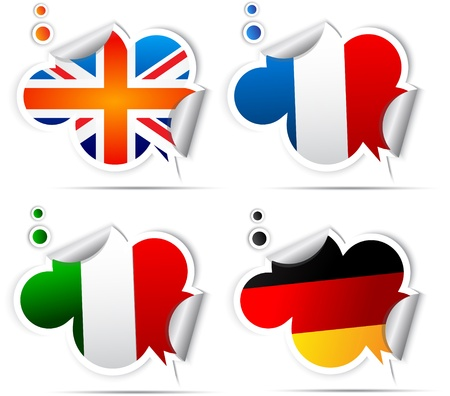 Stickers with symbols national flags Stock Vector - 9946063