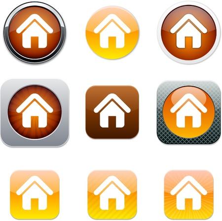Casa conjunto de iconos de aplicaciones. Ilustración vectorial.