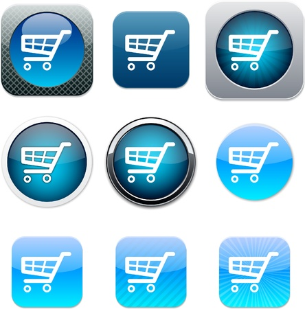 Shopping cart Set of apps icons. Vector illustration. Stock Vector - 9946208