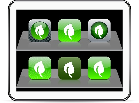 Leaf Set of apps icons. Vector illustration doesn Stock Vector - 9946181