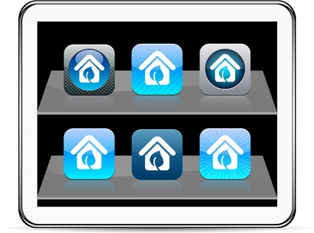 Blue home Set of apps icons. Vector illustration doesn Vector