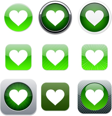 Heart Set of apps icons. Vector illustration. Vector