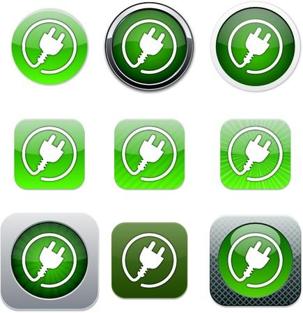 prise de courant: Plug Power a �tabli des ic�nes des applications. Vector illustration.