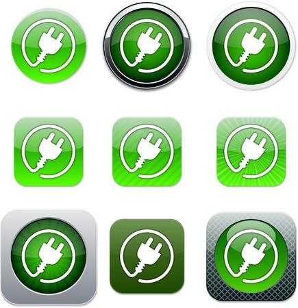 Power plug Set of apps icons. Vector illustration. Stock Vector - 9947798