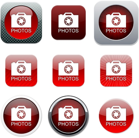 Photos Set of apps icons. Vector