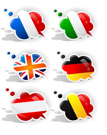 foreign national: Speech bubbles with symbols national flags