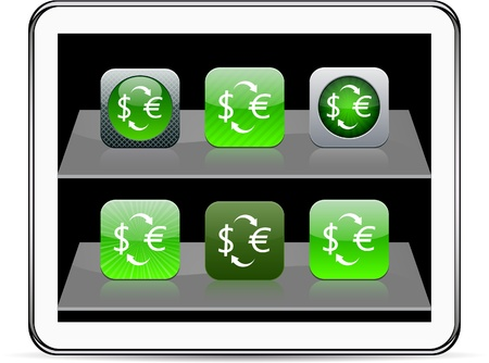 Money exchange Set of apps icons. Vector illustration doesn't contain transparency and other effects. EPS8 Only. Stock Vector - 10039014