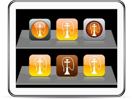 inhalacion: Hookah Conjunto de iconos de aplicaciones. Ilustraci�n del vector no contiene transparencias y otros efectos. EPS8 Only. Vectores